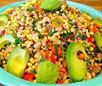 Jeweled white bean and summer corn salad at JuicyJenny's vegan lunch bar