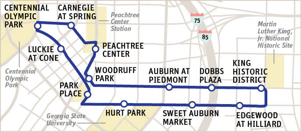 atlanta streetcar route map What To Expect On An Atlanta Streetcar Ride Atlanta Magazine atlanta streetcar route map