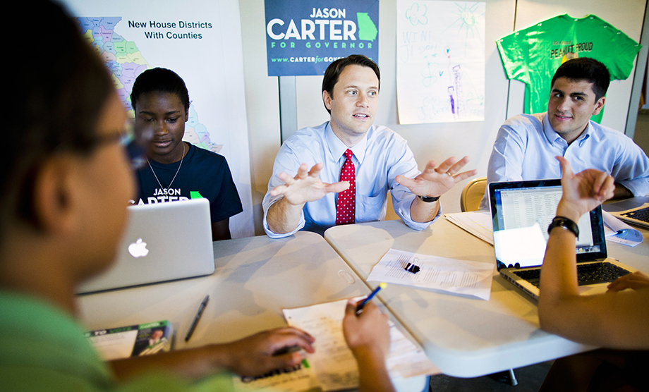 Carter with campaign staff in Atlanta in 2014