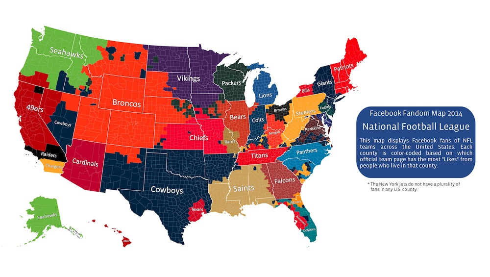 Facebook analysis of NFL fans by county
