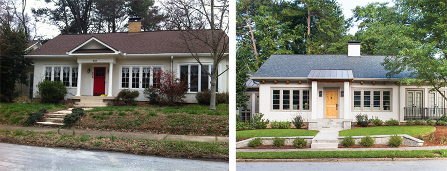 The exterior of the home before and after
