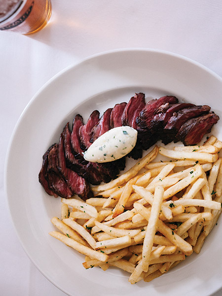 Hanger steak with maître d'hôtel butter
