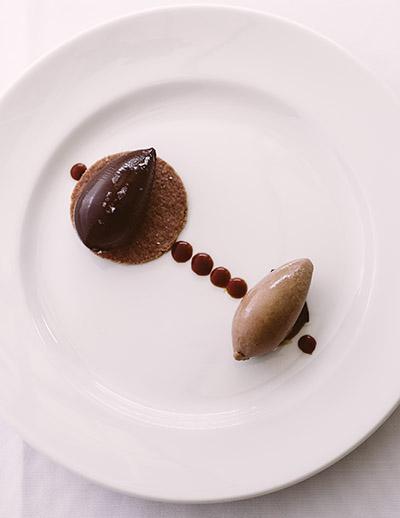 Salty caramel ganache tart, chocolate sorbet