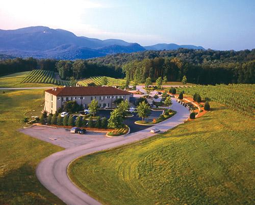 Though set among open fields, the inn offers mountain views.