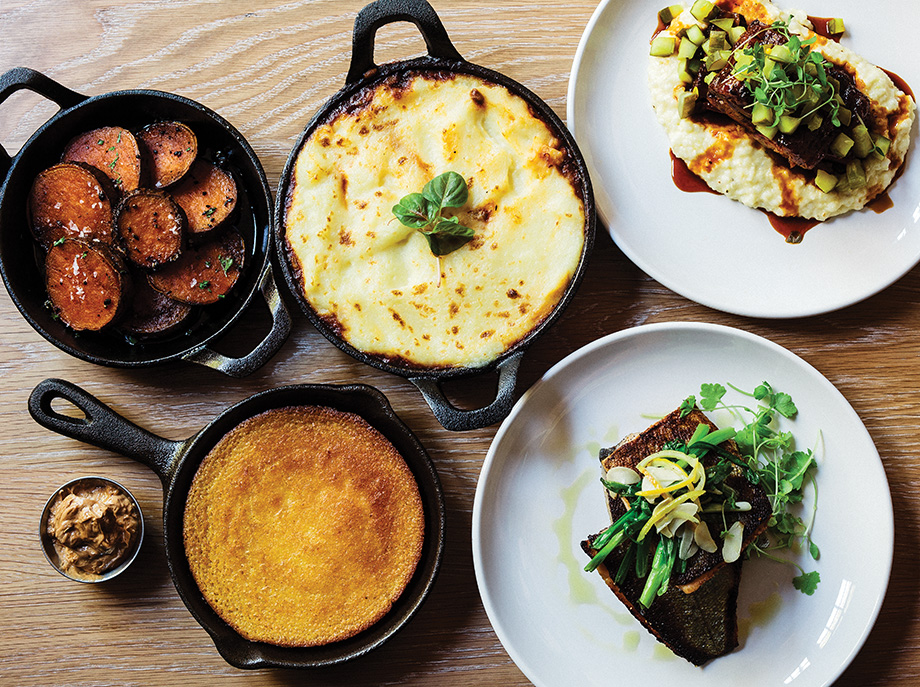 Clockwise from top left: sweet potatoes, shepherd's pie, short ribs, trout, cornbread with butter