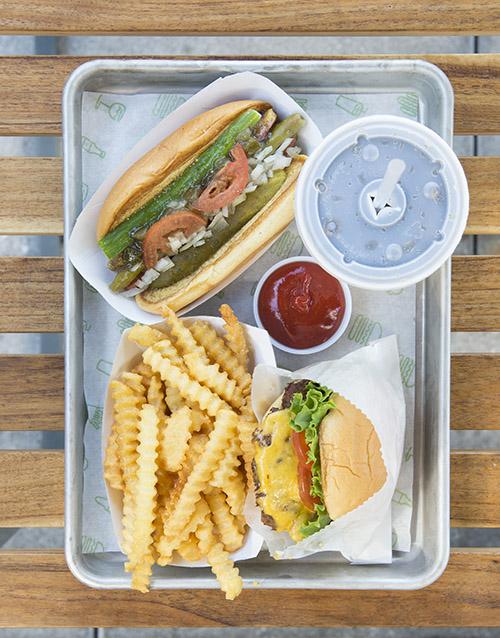 Burger and a hot dog at Shake Shack