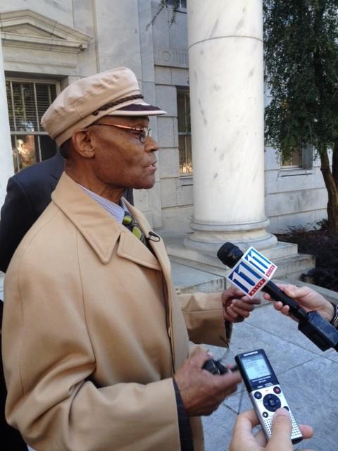 Rev. William Cottrell speaks to media outside the Georgia Supreme Court.