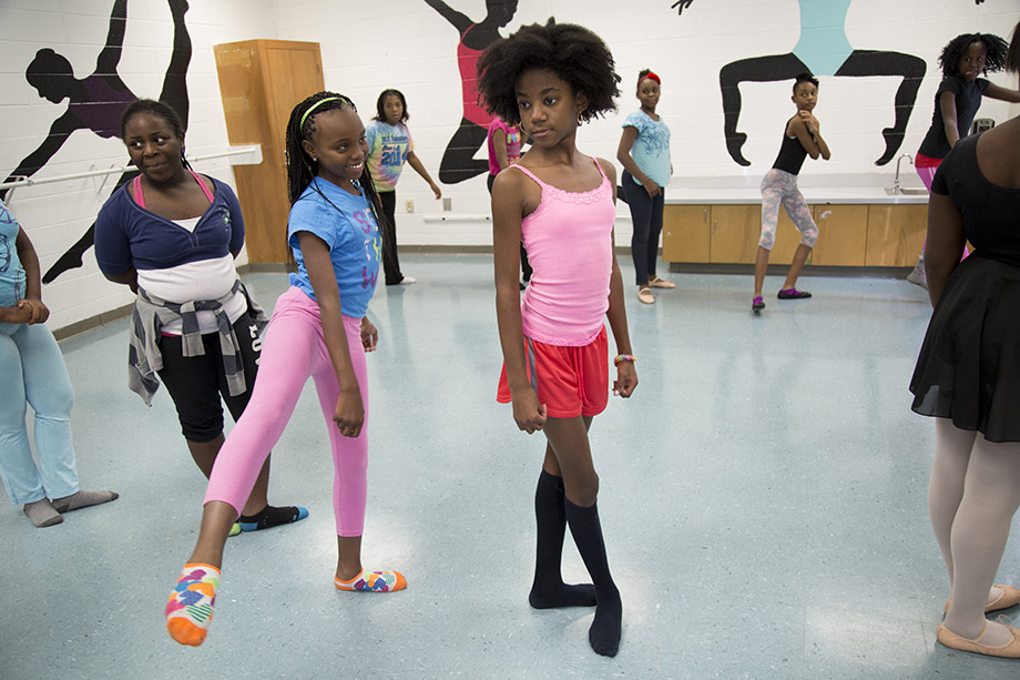 Arts programs at Utopian include ballet, in which students learn classical positions and then choreograph their own dances.