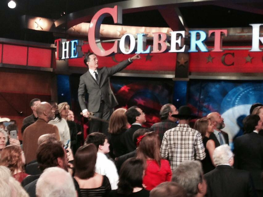 colbert report bookshelf Stephen colbert colbert report shirt, adult size l large, given to audience members who attended the show's live taping worn gently, super soft the buyer pays actual shipping 1st class.