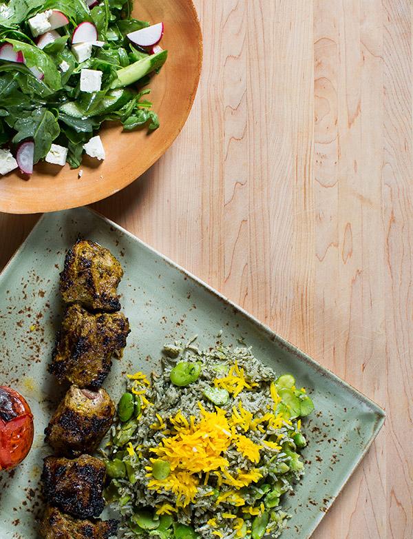 Lamb kebab with dill and fava bean basmati rice and arugula salad at Rumi's Kitchen