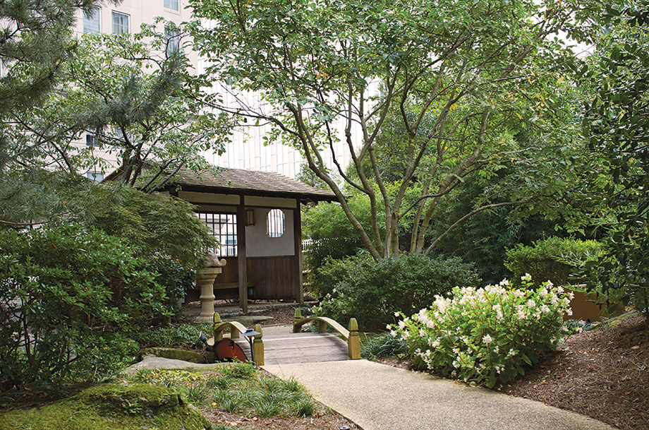 The tea house at the Hyatt's Zen Garden