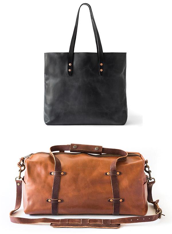 The Vintage Tote Bag, $195; the Weekender duffle bag, $350