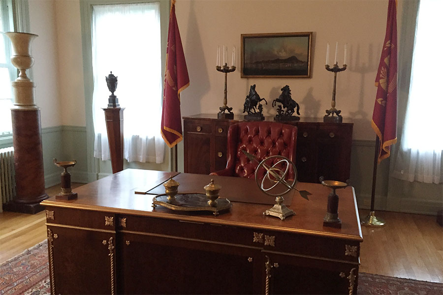 Visitors to the Girl on Fire tour will have the opportunity to snap a photo at President Snow's desk in the Swan House.