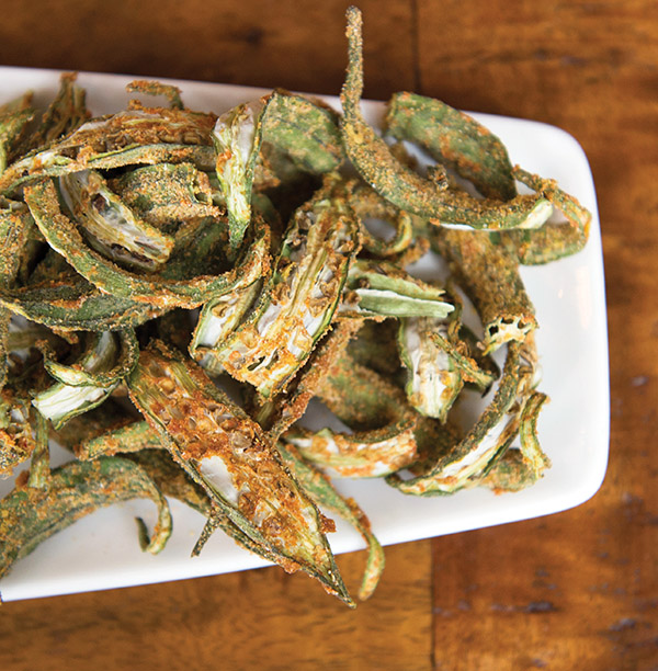 Fried okra with green sauce at Asante