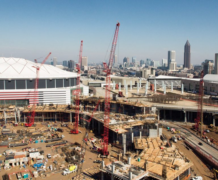 A drone's eye view of the new Atlanta Falcons stadium