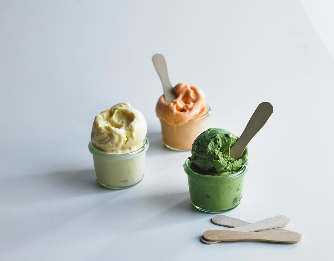 Passion fruit, Thai tea, and green tea ice creams
