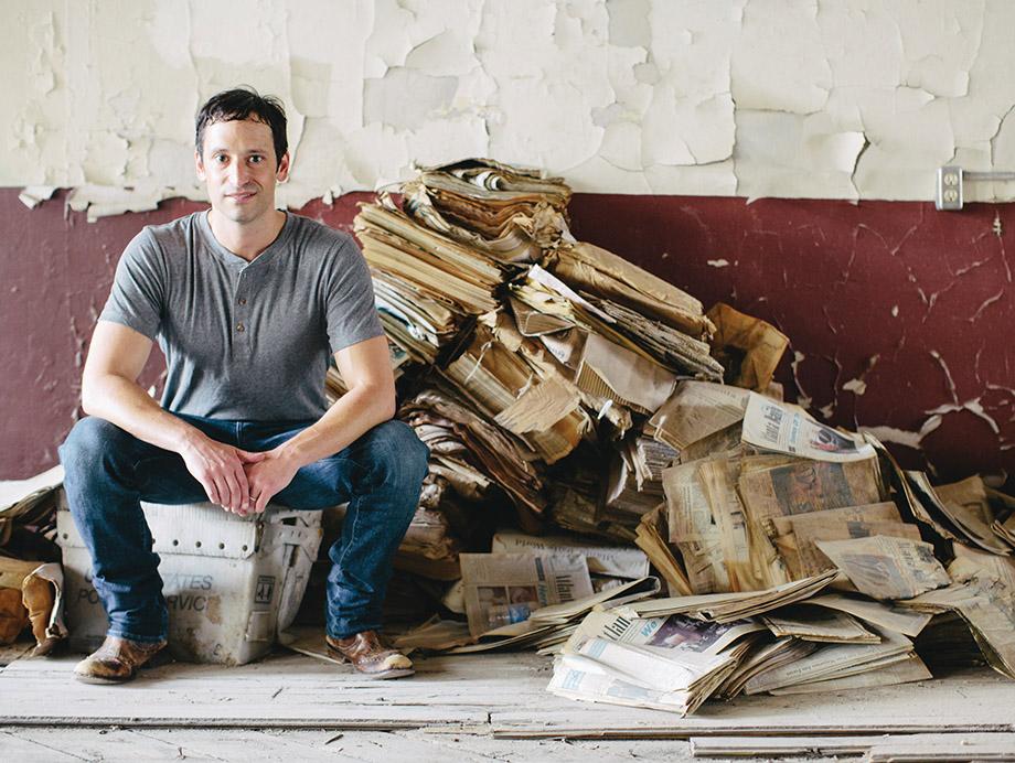 Developer Gene Kansas during renovation of the Daily World Building