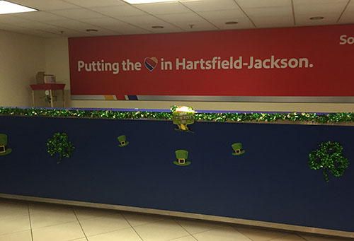 Southwest's St. Patrick's Day decorations in Hartsfield-Jackson.