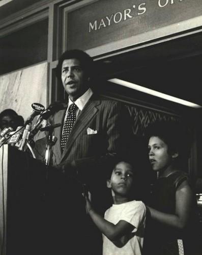 Maynard Jackson at City Hall with his children Brooke and Maynard Jackson III.