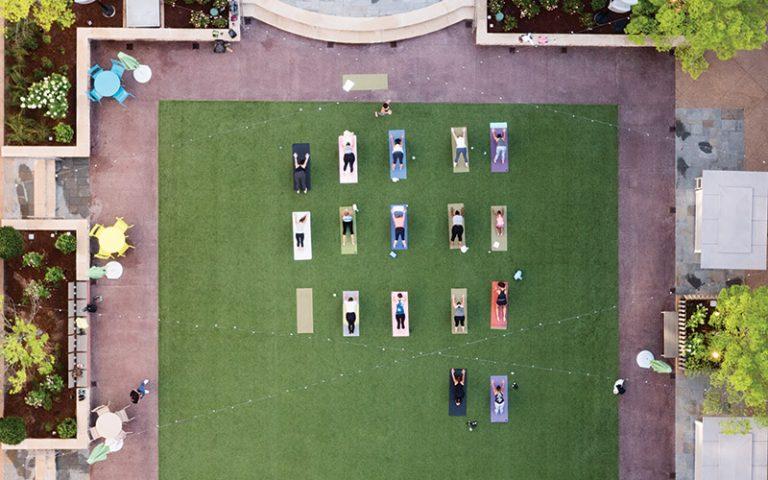 A drone's eye view of Sunrise Yoga at Avalon, Alpharetta