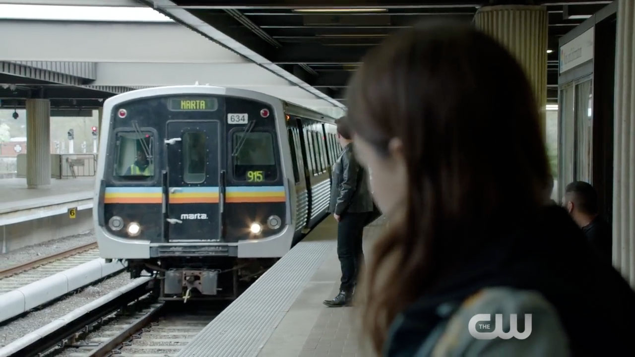 A MARTA train approaches the Avondale station in this scene shot on location.