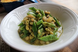 Local lady peas and snap peas in lemon dill butter