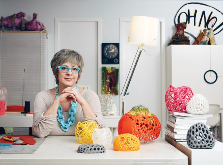 Experimental artist Leisa Rich expresses her creativity using fabrics, found objects, and eco-plastics