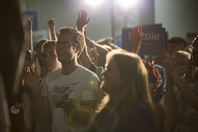 Supporters of Bernie Sanders watch the presidential candidate court potential Southern voters.