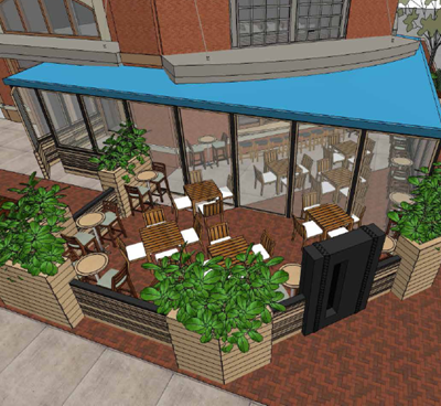 A rendering of the patio at Drift