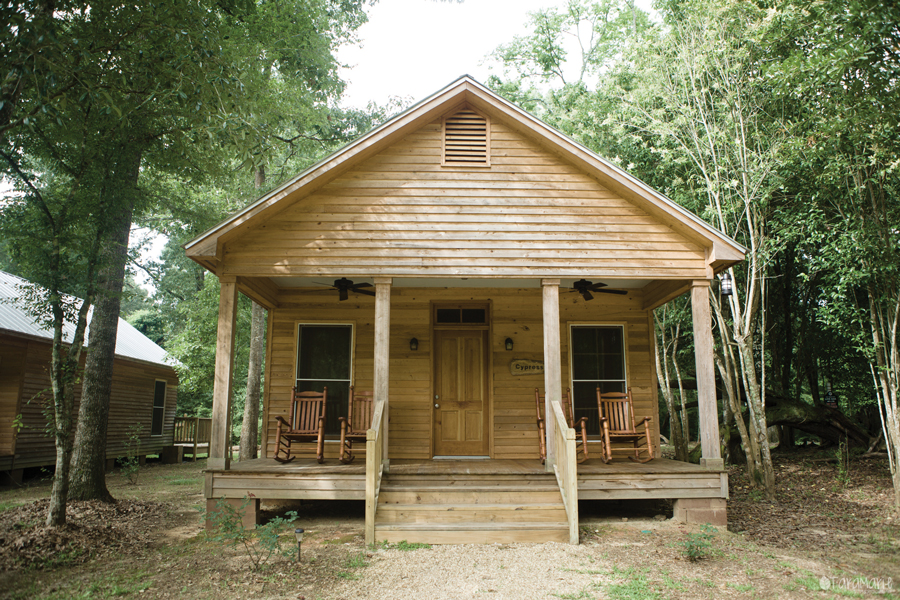 New cottages, built of native cypress and antique heart pine, offer privacy and views of the pond.