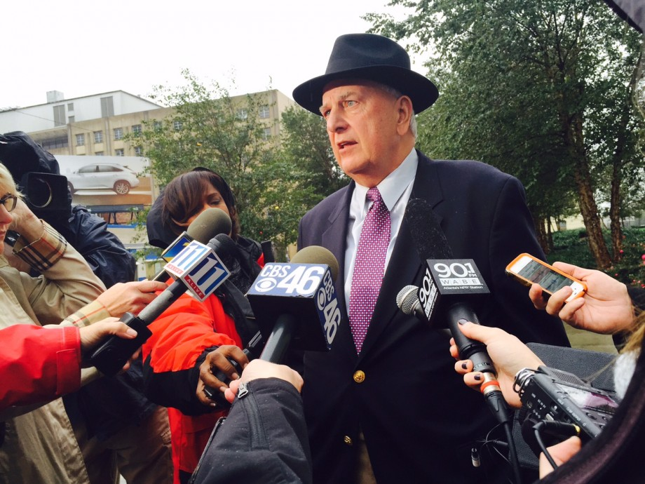 Former Gov. Roy Barnes speaks with reporters after the sentencing of former state Rep. Tyrone Brooks.