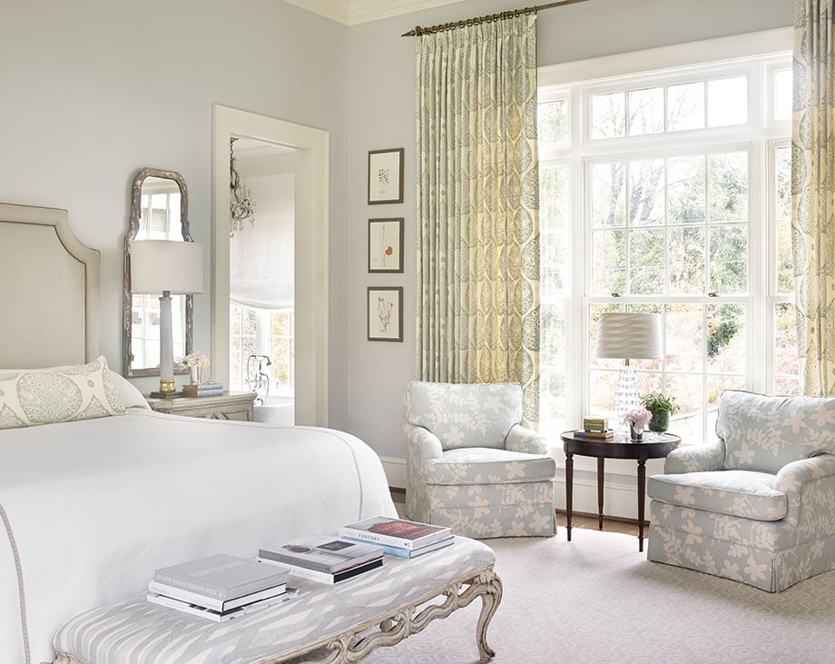 "Pale fabrics may seem difficult to keep clean, but the Turners selected ones that are scrubbable and less likely to fade. ""We sleep with three kids and the dogs in the bed,"" Katherine says with a laugh."