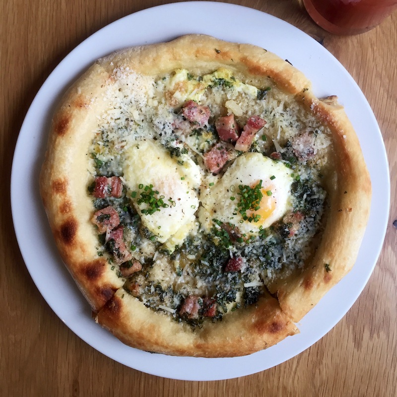 Breakfast pizza at Brezza Cucina