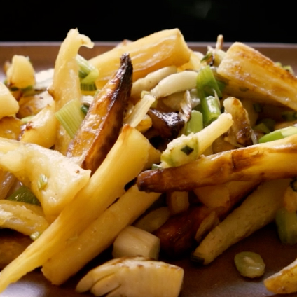 """Steven Satterfield Oven-roasted parsnip """"fries"""" with spring onions and fennel"""