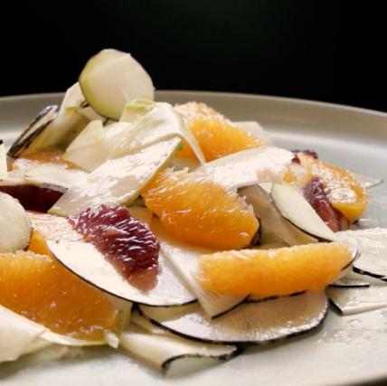 Steven Satterfield Kohlrabi, celery root, tangerine, and blood orange salad