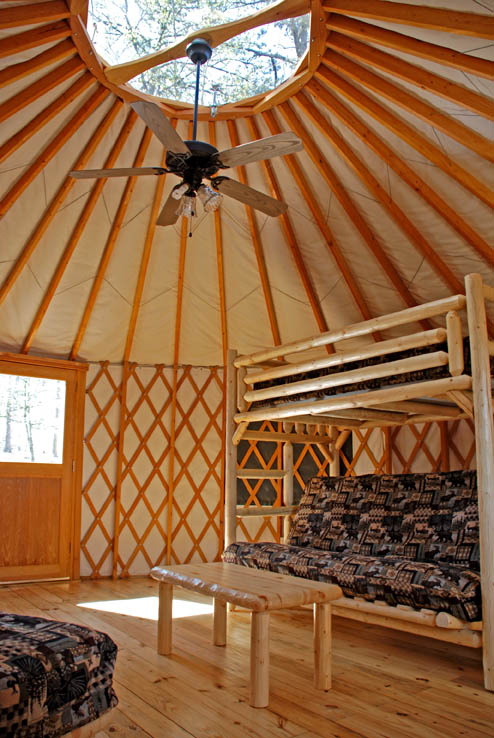 Inside a yurt at Sweetwater Creek State Park
