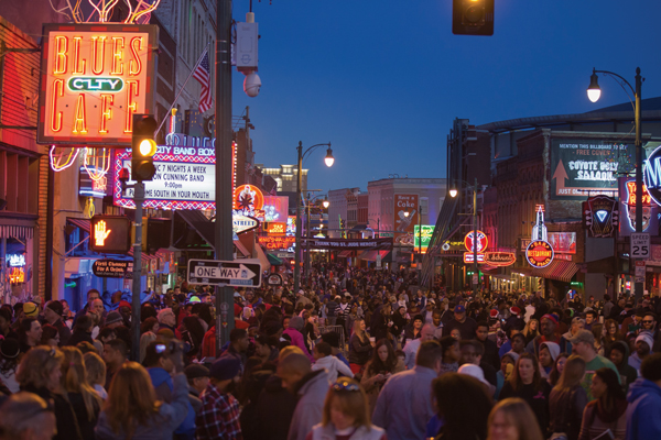Along legendary Beale Street, barbecue and blues go hand in hand.