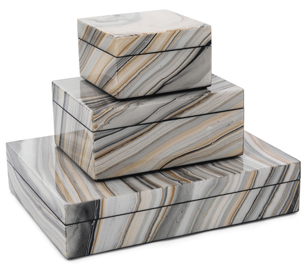 Marbleized lacqeur boxes