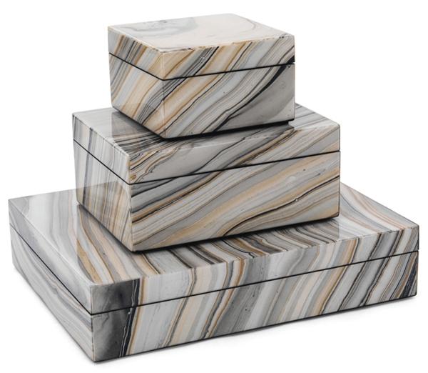 Marbleized lacqeur boxes