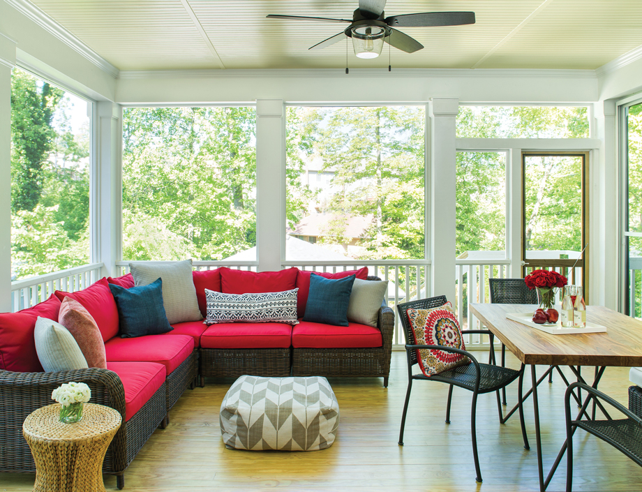 The family's favorite room, the screened porch, is proportioned to accommodate lots of friends and family or to be an intimate outdoor nook.