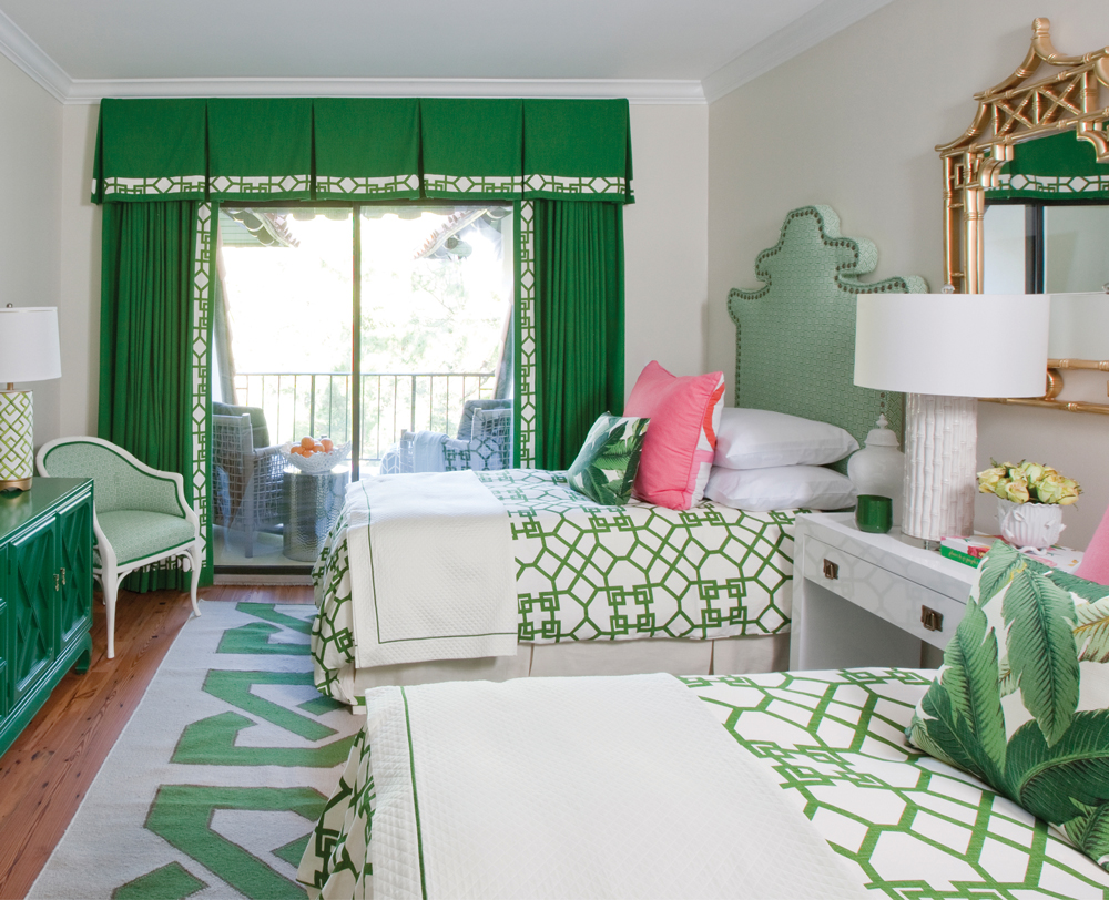 The designers commissioned custom pagoda-shaped headboards for one guest room, left. As a nod to Lily Pulitzer's famous color scheme, they added a touch of pink.