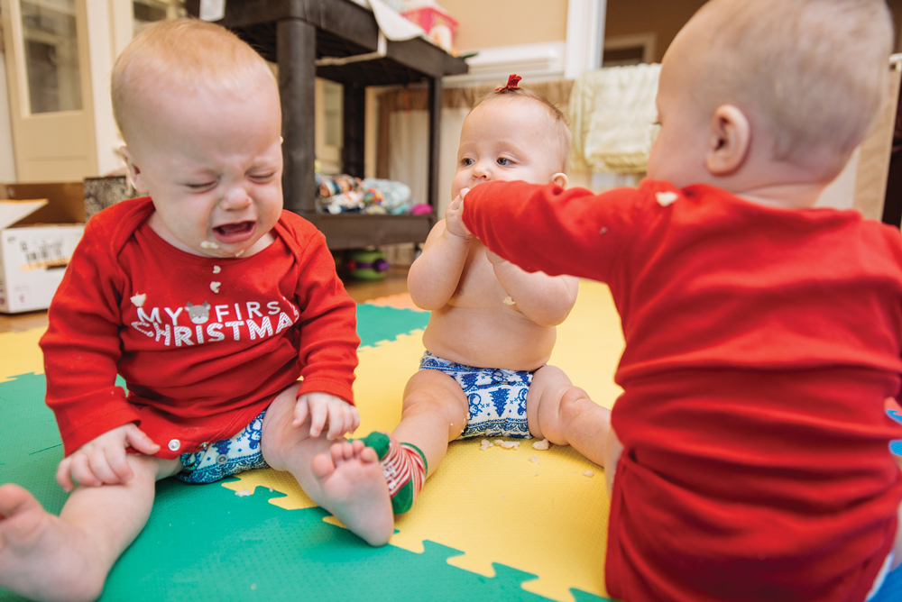 Crying is (perhaps surprisingly) not the default soundtrack in the Kirkland house, though the now-mobile quads sometimes grab puffs and pacifiers from each other's mouths.