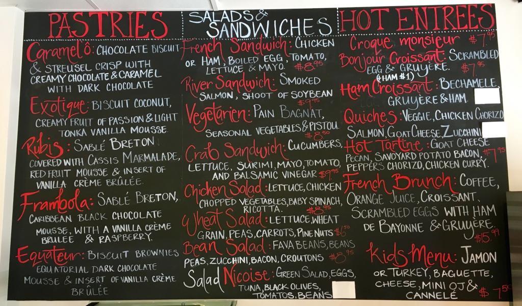 The menu at Café Vendôme'