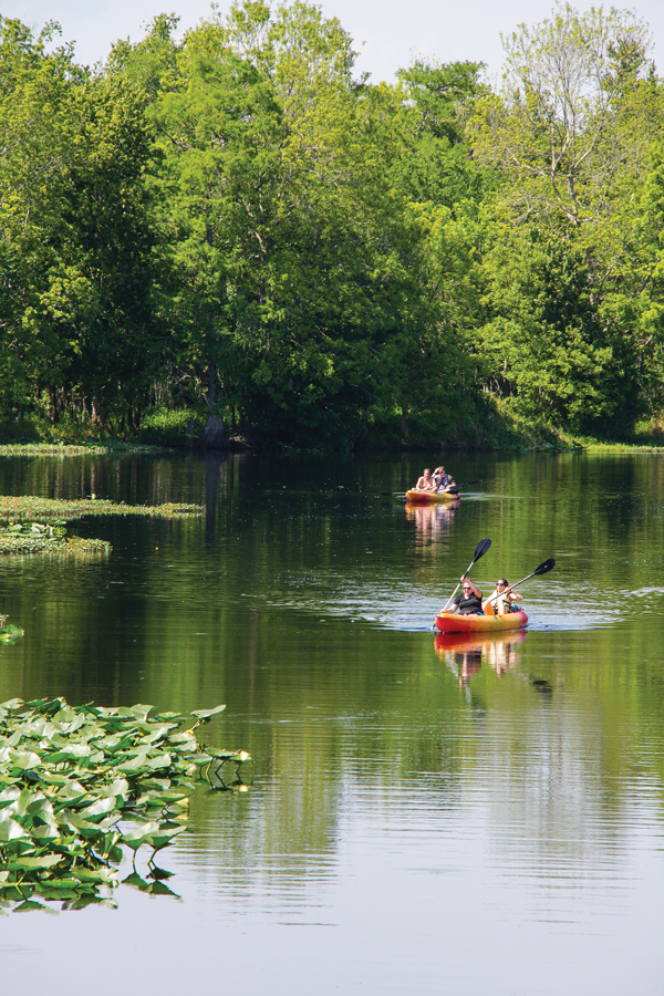 Kayakers paddle between Hontoon Island and Blue Spring state parks.