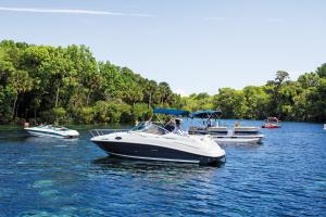 Pleasure boaters enjoy the river's crystal-clear springs.