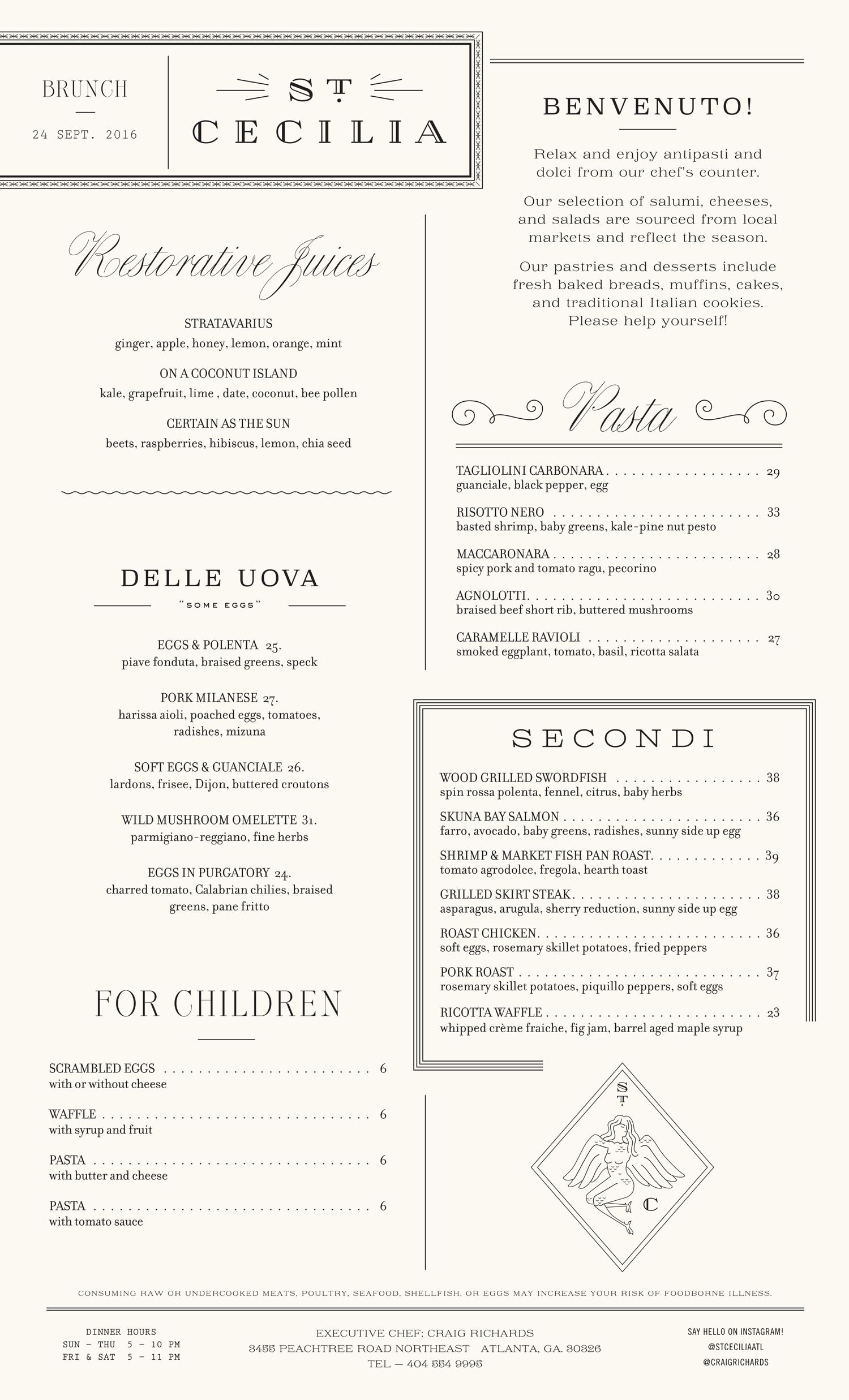 St. Cecilia Brunch menu