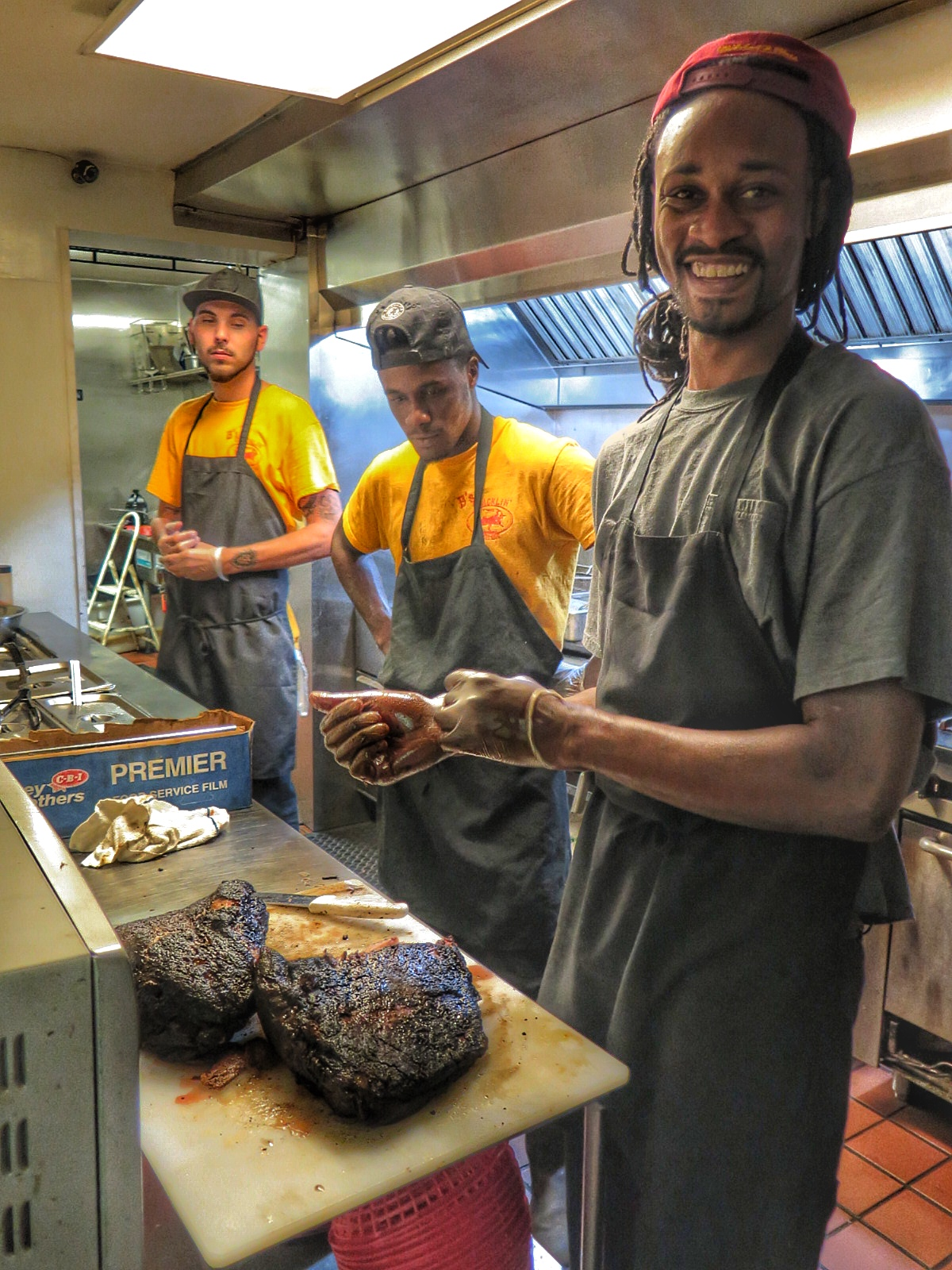 Bryan Furman with his crew in the kitchen.