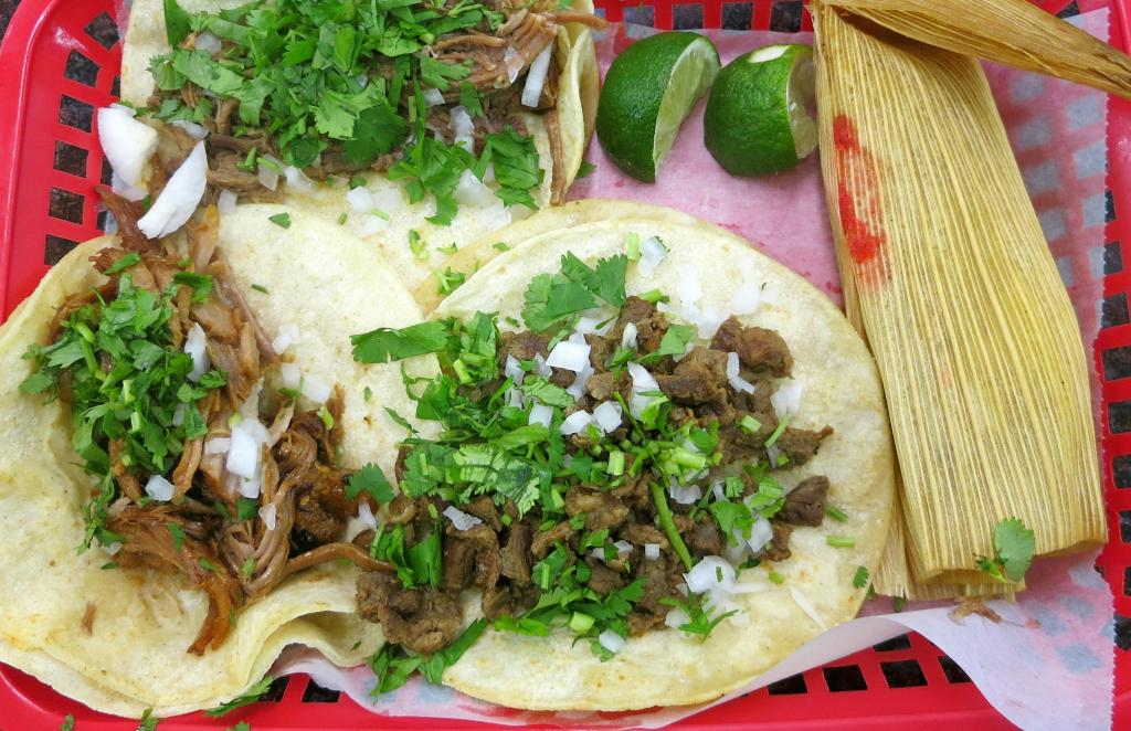 Tacos and tamale at Chicago Supermarket.