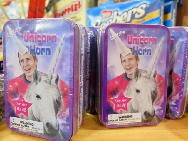 An inflatable unicorn horn at Rocket Fizz.