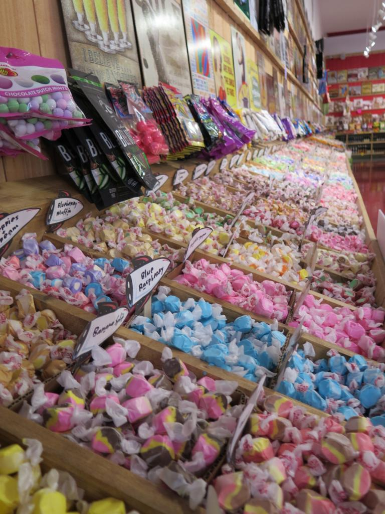 The jaw-dropping selection of taffy at Rocket Fizz Decatur.